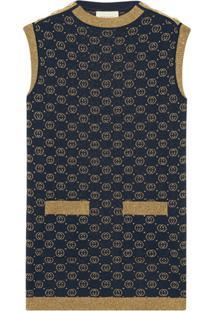 Gucci Vestido Interlocking G Com Lamé - Azul