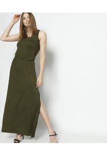 c19317ee8 ... Vestido Longo Com Elástico Embutido - Verde- Linho Flinho Fino