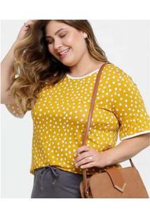 Blusa Luktal Estampa Bolinhas Plus Size Manga Curta Feminina - Feminino-Amarelo