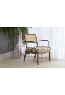 Poltrona Decorativa Com Metal Lavanda - Aço Preto Verniz Capuccino Tec.1860 Floral 63,5X64X78 Cm