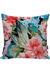 Capa De Almofada Beautiful Bird- Azul & Rosa- 45X45Cstm Home