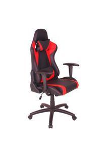 Cadeira Gamer Mag2 Com Base Giratória Em Nylon - Preto/Vermelho