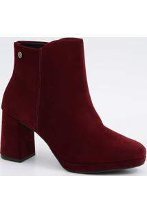 Bota Feminina Nobuck Ankle Boot Salto Alto Vizzano