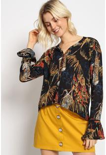 """Camisa Alongada """"Folhagens"""" Com Botãµes - Preta & Amarelasommer"""