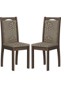 Cadeira Lívia Mdf 02 Unidades Marrocos/Café Cimol