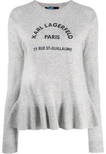 Karl Lagerfeld Moletom Address Logo - Cinza