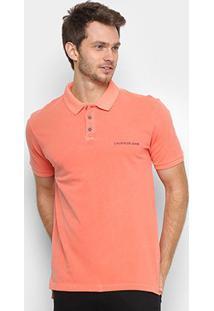 Camisa Polo Calvin Klein Logo Básica Masculina - Masculino-Laranja