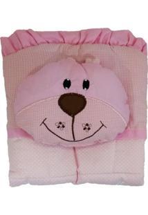 Capa De Carrinho Com Travesseiro Bruna Baby Poá P Rosa
