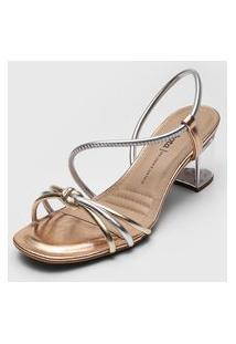 Sandália Dakota Tiras Nó Dourada/Prata