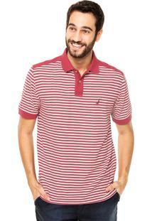 Camisa Polo Nautica Listras Vermelha