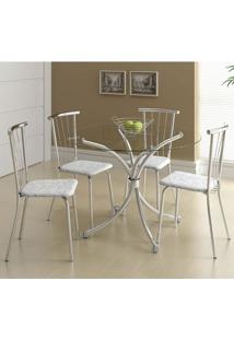 Mesa 375 Vidro Incolor Cromada Com 4 Cadeiras 154 Fantasia Branco Carraro