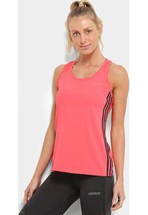 Regata Adidas Design 2 Move Três Listras Feminina - Feminino-Vermelho+Preto