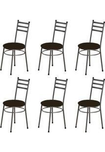 Kit 6 Cadeiras Baixas 0.135 Redonda Craqueado/Tabaco - Marcheli