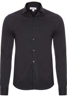 Camisa Masculina Slim Cannes Toque Suave - Preto