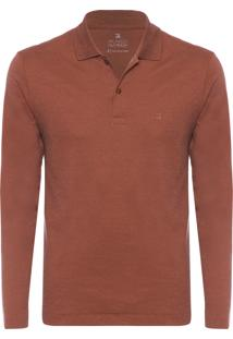 Polo Masculina Oxford - Marrom