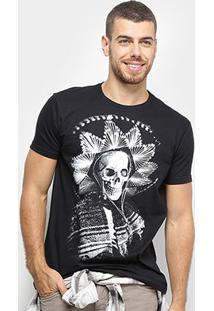 Camiseta Bulldog Fish Caveira Mexicana Masculina - Masculino-Preto