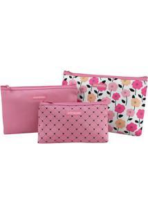 Kit De Nécessaires Floral- Rosa & Branco- 3Pçs- Jacki Design