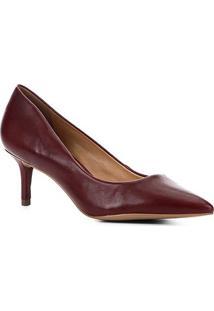 Scarpin Couro Shoestock Salto Baixo - Feminino-Vinho