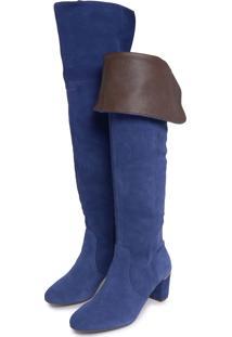 Bota Over The Knee Couro Giulia Domna Clean Azul-Marinho