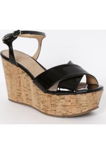 Sandália Plataforma Com Cortiça - Preta - Salto: 10Cluiza Barcelos