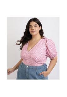 Blusa Feminina Mindset Plus Size Estampada Xadrez Manga Curta Bufante Decote V Pink
