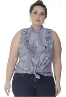 Regata Plus Size Com Babado Listrado Miss Masy Plus - Feminino-Azul