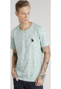 """Camiseta Masculina Flamê Com Estampa """"Tubarão"""" Manga Curta Gola Careca Verde Claro"""