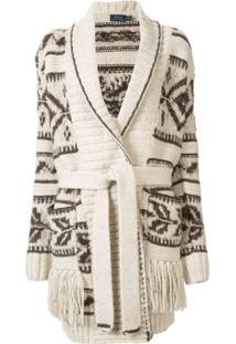 Polo Ralph Lauren Cardigan Com Acabamento Em Franjas - Marrom