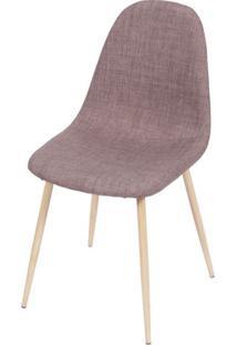 Cadeira Robin Linho Marrom Base De Metal Com Pintura De Madeira - 43061 Sun House