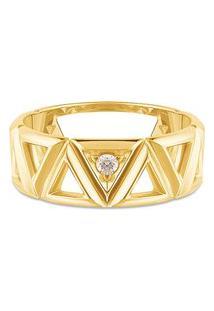 Anel Icona Ouro Amarelo E Diamantes Grande