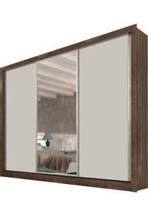 Roupeiro 3 Portas Dubai C/ Espelho Cumaru Rustic/Off White Tcil Móveis
