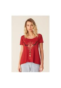 Camiseta Oneill Feminina Estampada Bones Vermelha