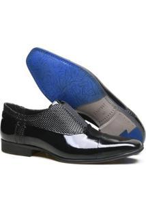Sapato Social Couro Calvest Verniz Masculino - Masculino-Preto