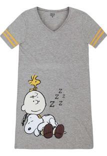 Camisola Feminina Em Malha De Algodão Snoopy E Hering