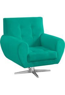 Poltrona Decorativa Beluno Suede Verde Tiffany Base Estrela Aço Cromado - D'Rossi