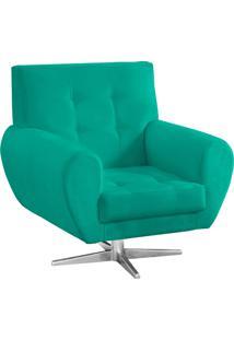 Poltrona Decorativa Beluno Suede Verde Turquesa Base Estrela Aço Cromado - D'Rossi.