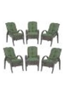 Cadeiras 6Un P/ Jardim Lazer Edicula Varanda Descanso Fibra E Tramas Napoli Plus Tabaco A30