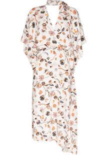 Roland Mouret Vestido Midi Meyers Com Estampa Floral - Branco