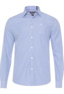 Camisa Masculina Fine Stripe - Azul