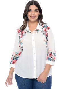 Camisa Enfase Plus Plus Size Off White Flores Branco