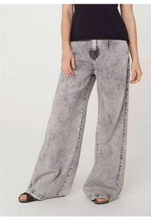 Calça Jeans Feminina Pantalona Wide Leg Marmorizad