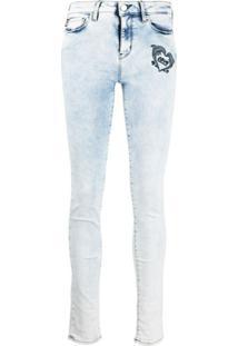 Love Moschino Calça Jeans Skinny Com Logo Bordado - Azul