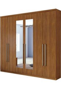 Guarda Roupa Alonzo New 6 Portas Com Espelho Rovere Naturale