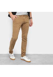 Calça Sarja Skinny Replay Chino Color Masculina - Masculino-Cáqui