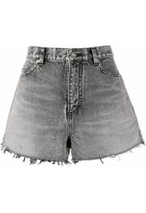 Saint Laurent Short Jeans Cintura Alta - Cinza