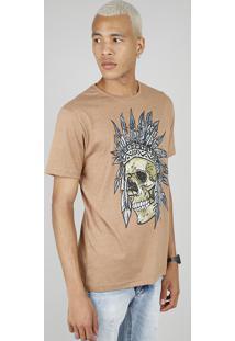Camiseta Masculina Estampada De Caveira Com Cocar Manga Curta Gola Careca Caramelo