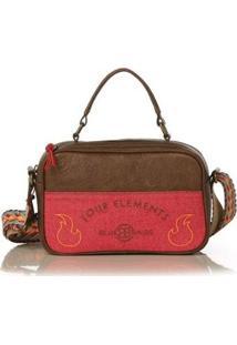 Bolsa Blue Bags Crossbody Bordado Terra Feminina - Feminino-Marrom+Vermelho