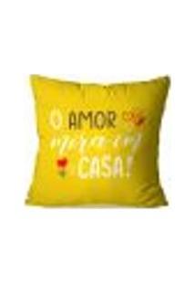 Capa De Almofada Avulsa O Amor Mora Em Casa 35X35Cm