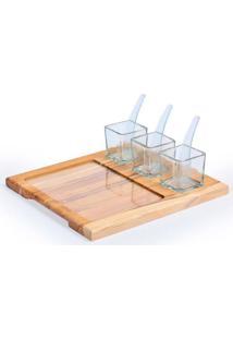 Conjunto De Petisqueira Em Madeira E Vidro Decorglass Teka Com 8 Peças Quadrado Marrom