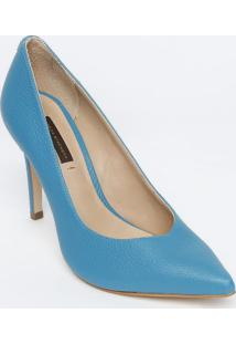 Scarpin Em Couro Com Tag - Azul - Salto: 10Cmjorge Bischoff